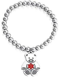 Bling Jewelry Kids Steel Teddy Bear Medical Alert ID Stretch Bracelet 6mm