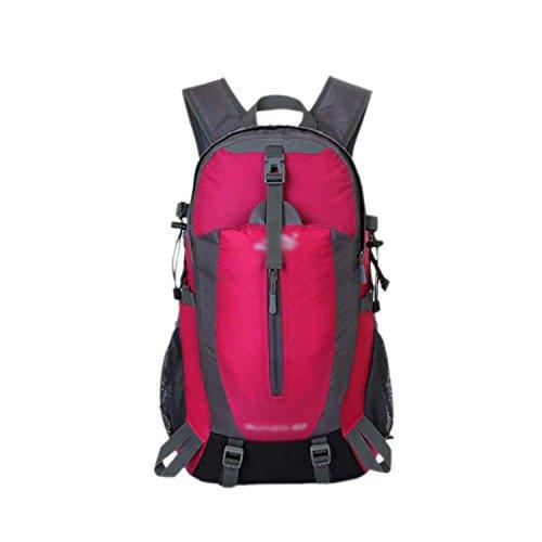 ESYN Outdoor Sports 40L Wasserdicht Reiten Radfahren Tasche Wandern Camping Rucksack Rose Red