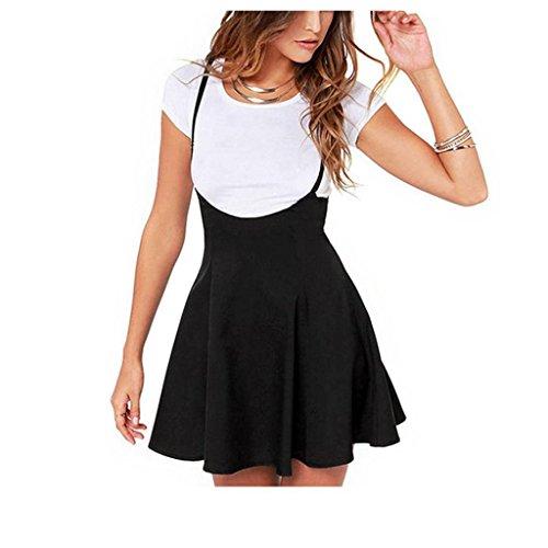 Koly_Donne Gonna nera modo con spallacci vestito pieghettato (M)
