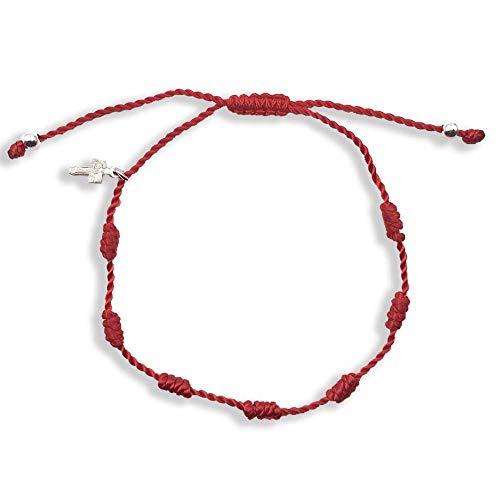 Alessandra Boho - Pulsera Ajustable con Cordón 7 Nudos realizado con Nylon Rojo con Cruz de Caravaca de Plata, Amuleto de la Suerte contra el Mal de Ojo con Cruz y Bolas de Plata