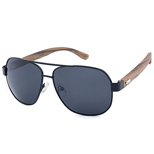 Ppy778 Holz Retro Vintage Designer Sonnenbrillen Wayfarer Aviator Outdoor Sports Sonnenbrillen UV400 (Color : Gray)