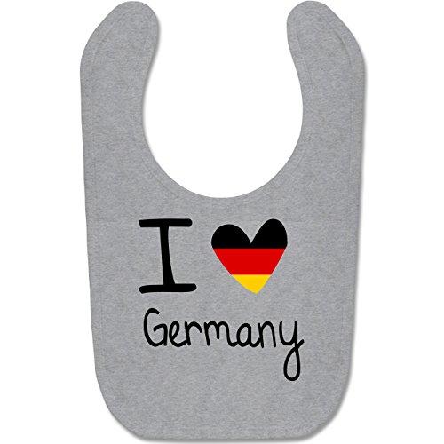 Städte & Länder Baby - I love Germany - Unisize - Grau meliert - BZ12 - Baby Lätzchen Baumwolle -