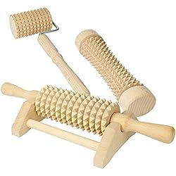 Lantelme Lot de 3 rouleaux de massage en bois Massage Wellness 4802 Rouleaux de massage pour pieds, mains, corps