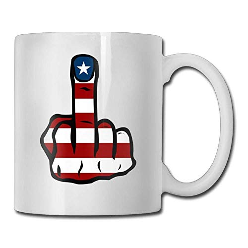 Nisdsgd American Flag Middle Finger Coffee Mugs 11 Oz Birthday Gift Ceramic Tea Cup for Family and Friend 3.14W x 3.74H(8x9.5cm) 16 Oz Tall Iced Tea