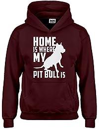 Indica Plateau La casa è dove di mio Pit Bull con cappuccio della Gioventù  - Red b6635a14d2fe