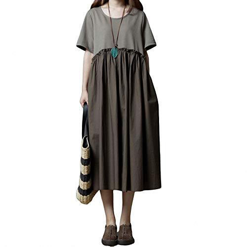 Strukturierte Baumwolle Kleid (Yuhualiyi123 Kleid lose Größe Frauen Fett mm Mode Baumwolle Rundhals Kurzarm Kleid)