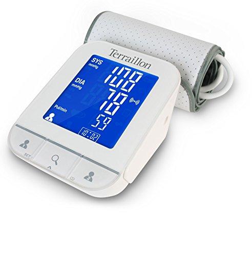 Terraillon Tensiomètre Bras Connecté, Pour Smartphone/Tablette, Calcul de la Tension Artérielle et du Rythme Cardiaque, 2 Utilisateurs, 60 Mémoires, Bluetooth Smart, TensioScreen, Blanc
