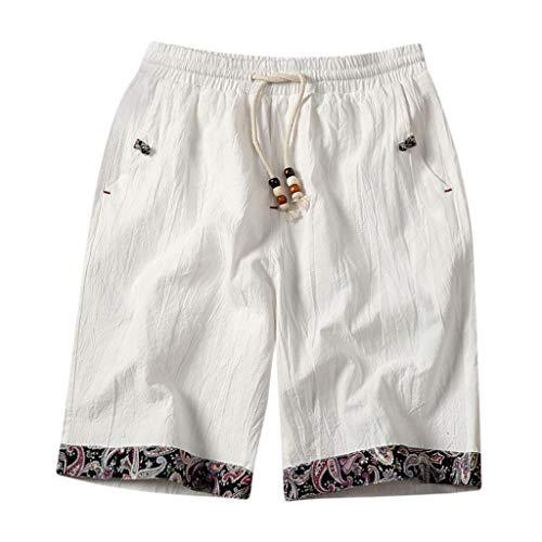 GreatestPAK Pants Herren Sommer Einfarbig Taschen Tunnelzug Baumwollleinen Shorts Ethno Style Shorts,Weiß,XXL