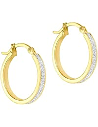 9ct Yellow Gold Small Stardust Hoop Earrings 1.51.1179