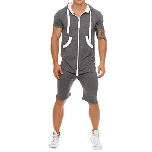 Eghunooye Herren Sommer Jumpsuit kurz Anzug Overall Sport Jogging Training Anzug Onepiece Jumpsuit mit Reißverschluss (Dunkel Grau, XL)