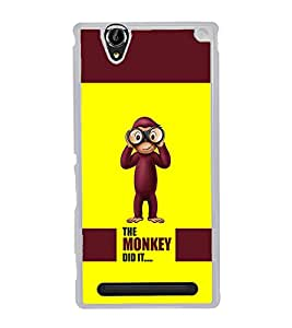PrintVisa Designer Back Case Cover for Sony Xperia T2 Ultra :: Sony Xperia T2 Ultra Dual SIM D5322 :: Sony Xperia T2 Ultra XM50h (Quote Monkey Did it Cartoon Monkey With Glasses)