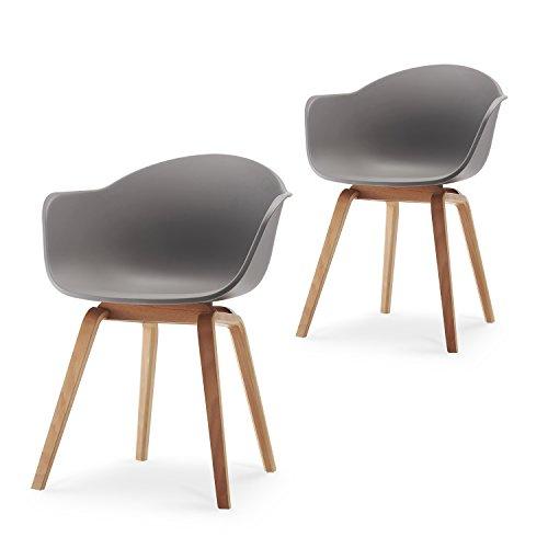 Romeo Set da 2 sedie da lounge in stile retro, ideali anche come sedie da pranzo; materiale: Polipropilene - colore: grigio - 43x80x53