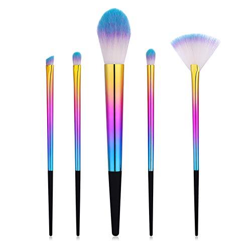 Cdet 5Pcs Kit De Pinceau Maquillage avec Manche en plastique Make Up Brush Ensemble Fondation Mélange Blush Yeux Visage Poudre Cosmétiques Style coloré Tête de brosse bleue blanche