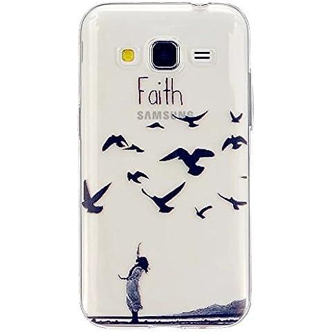 TKSHOP TPU Silicone Gel sottile per Samsung Galaxy Core Prime SM-G360 Custodia Caso Case Cover Trasparente Ammortizzante Antiurto Bello Dipinto - Gli uccelli volano a sud