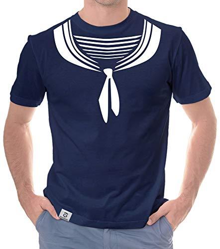 Shirtdepartment - Herren T-Shirt - Matrose dunkelblau-Weiss M -