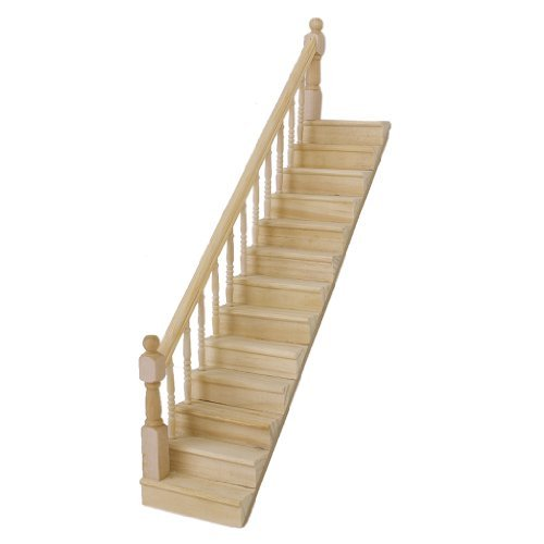 1:12 Dollhouse Pre-Assembled Staircase Wooden Stair Stringer Step with Left Handrail by Generic (Stringer Stair)