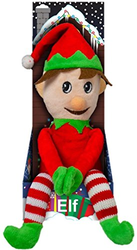Large Elf Soft Plush Toy Santa's Helper 49cm Boxed Children's Christmas Gift Choice of Outfit (Stripey Red) Santas Helper Outfit