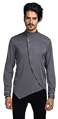 Whatlees Chemise ¨¤ manches longues ¨¤ manches longues ¨¤ manches longues ¨¤ manches longues B404-Gray-XL