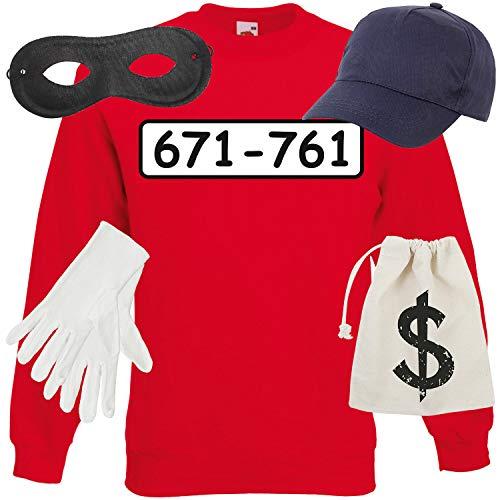 Dagobert Kostüm - Shirt-Panda Unisex Sweatshirt Panzerknacker Kostüm + Cap + Maske + Handschuhe Verkleidung Karneval SET06 Sweater/Cap/Maske/Handschuhe/Beutel L