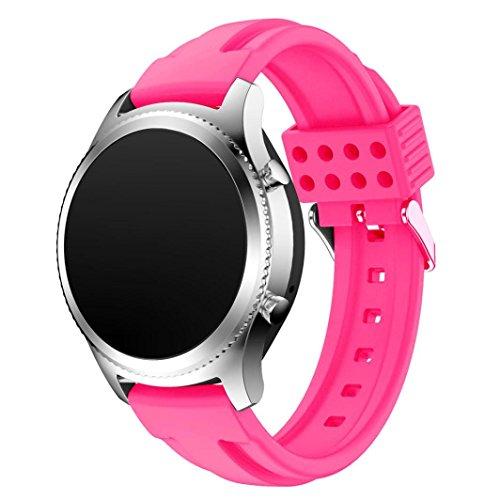 Preisvergleich Produktbild Sansee Fashion New Sports Silikon Armband Strap Band für Samsung Gear S3 Classic - (Samsung Gear S3 Classic Doppel-Pit Silikon-Armband) (Hot Pink)