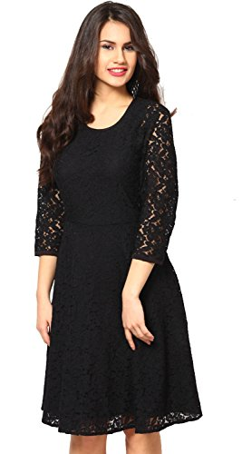 Aroma Lifestyle Women's Black A-Line Midi Dress