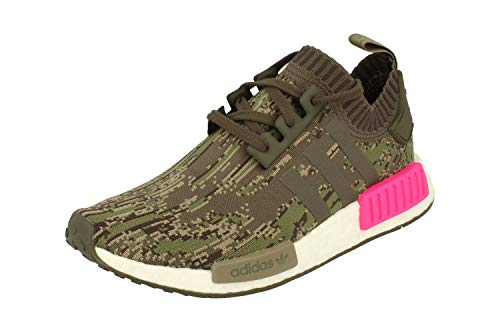 adidas Originals NMD_R1 Pk Herren Running Sneakers Turnschuhe Prime Knit (UK 6.5 US 7 EU 40, Utility Green pink BZ0222)
