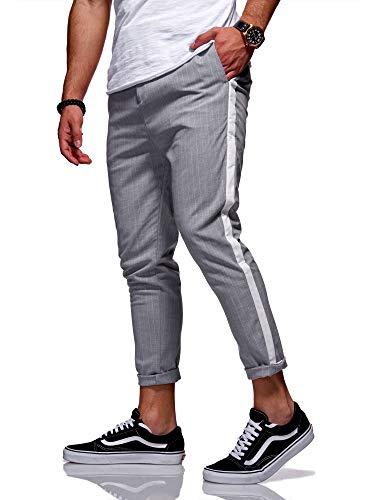 Rello & Reese Hose Stripe Slim Fit Freizeithose Chino Anzug JN-1003 [Grau, W31] -