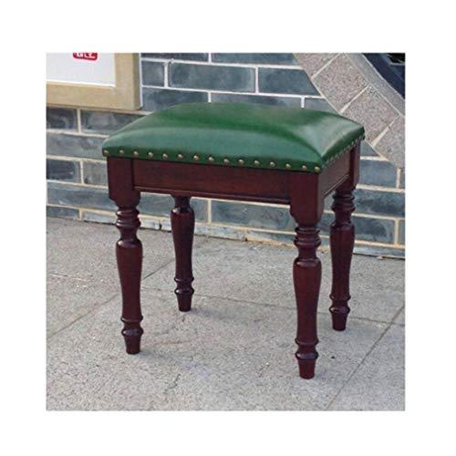 Geschnitzte Hocker (WGXX Fußhocker & Polsterhocker Vanity Hocker Geschnitztes Holzbein & Hochwertige Kunstlederpolsterung,40 X 30 X 45 cm (L X B X H) (Color : Green/Walnut Color))