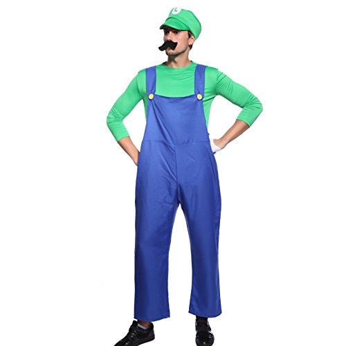 igi in Gr.M Klempner Herren Kostuem mit Bierbauch Karneval Fasching Herrenkostuem (Mario Luigi Kostüm)