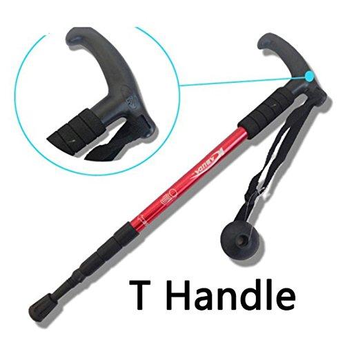 Gehstöcke-Leichtes Aluminium Walking Stick T-Griff Faltbare 4-teilige Bastones Teleskop-Trekkingstöcke Für Bergwandern Einstellbare Cane, Rot