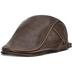 Roffatide Hombres Boina de Cuero Gorra Plana Sombrero Cuero Sombrero Plano Ajustable Marrón