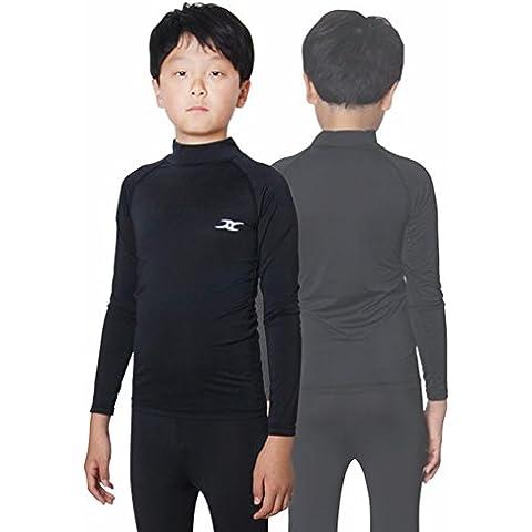 Kids-Maglietta da ragazzo a compressione, a maniche