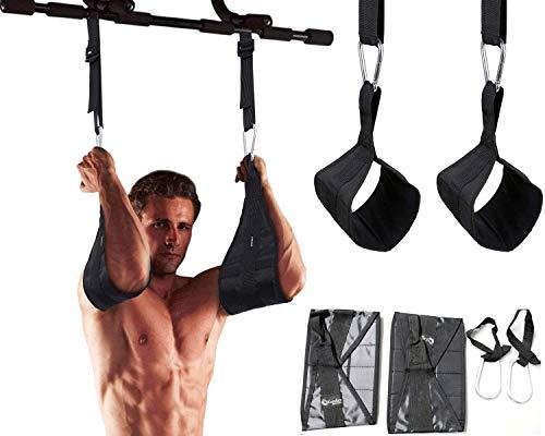 Trainingsbänder zum Montieren an Klimmzugstangen / Reckstangen, Befestigung mit Karabiner mit Sicherheitsverschluss, ideal für Fitnesstraining und Bauchtraining, schwarz