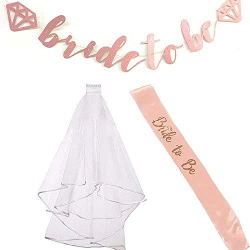 Fiyomet Bachelorette Party Dekorationen Kit Bridal Shower Supplies Braut Schärpe Banner Schleier sein