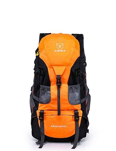 HWB/ 50 L Rucksack Camping & Wandern / Klettern Draußen Wasserdicht / Eingebaute Kesseltasche Gelb / Grün / Rot / Schwarz / Blau / Orange Nylon Red