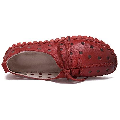 Shenn Femmes Creux Faible Talon Loisir Cuir Mode Baskets Rouge