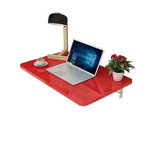 Mesa de hojas abatible montada en la pared | Estación de trabajo de pared Escritorio de la computadora Mesa de estudio para niños Mesa de comedor de cocina de escritorio Rojo ( Tamaño : 80×50cm )