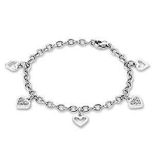 S.Oliver Kinder Armband Bettelarmband Herzen Edelstahl Glas Kristalle 16 cm weiß