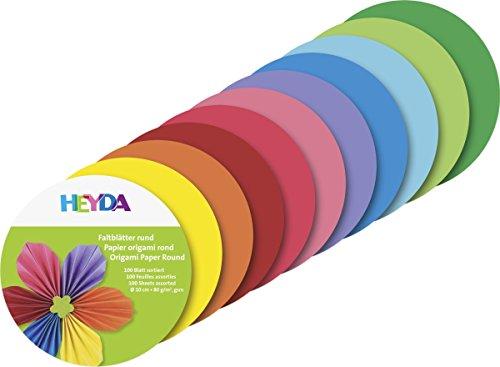 Heyda 204875610 Faltblätter rund, Uni Ø 10 cm, 10 Farben sortiert Runde Blätter
