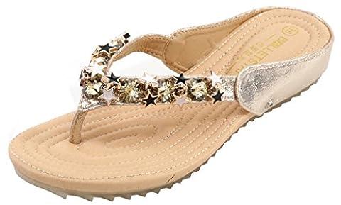 AgeeMi Shoes Women Ladies Diamond Flip Flops Low Wedge Slip on Toe Post Sandals,EuL07 Gold 42
