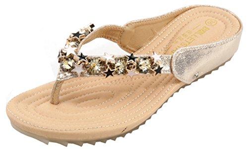 AgeeMi Shoes Femmes Sandales Antidérapant Talon Plat Flip Flops Doré (EuL07)