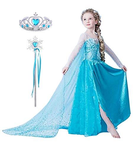 2501ec93a8ef YONIER Vestito del Compleanno della Principessa Elsa di Frozen Costume da  Carnev