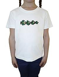 Rama Blanco Algodón Niña Niños Camiseta Manga Corta Cuello Redondo Mangas White Girls Kids T-shirt