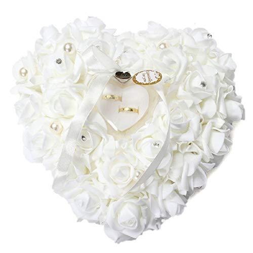 Yalulu Weiß Romantic Rose Hochzeit Ringkissen Ring Box Herz Bevorzugungen Ehering Kissen mit Eleganter Satin Flora mit Bogen Satin Bogen -
