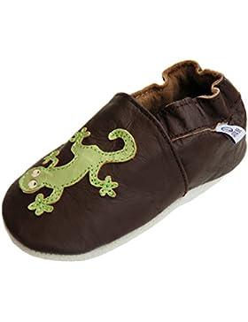 Lederpuschen Hausschuhe Krabbelschuhe Baby Lauflernschuhe mit Wildledersohle Gr.19-33 von Lappade Geckos Art. 67