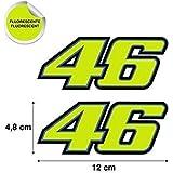 Pegatina Adhesivo 46 Valentino Rossi TROQUELADA Amarillo Fluorescente 2 Unidades