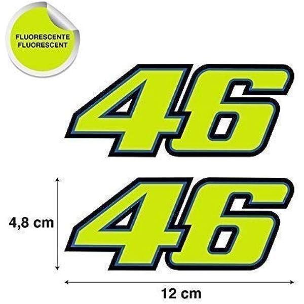 Aufkleber Aufkleber 46 Valentino Rossi Gestanzt Gelb Fluoreszierend Hochwertig 2 Einheiten Auto