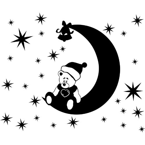 Weihnachtsdekoration, 60 cm x 58 cm, mit 46-Sterne, 2 x 10 cm, 12 x 5 cm, 32 x 2,5 cm, erhältlich in 18 Farben Motiv Aufkleber, Motiv: Teddy-Bär, Santa Claus, Fenster und Wand Aufkleber, Wand Windows-Art, Ornament Vinylaufkleber ThatVinylPlace (Claus Bär)
