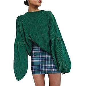 FeiBeauty 2018 Mode Frauen Gestrickte Solide Langarm Laterne Ärmel Tops Lose Pullover Bluse Outwear Casual Herbst Oversize Kurz Freizeit Sweatshirt Hoodie Sportstwear