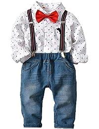 Zoerea Abbigliamento Set per Bambino Ragazzo Camicie a Quadri Manica Lungo  + Pantaloni + Bretelle + 49034183deb4